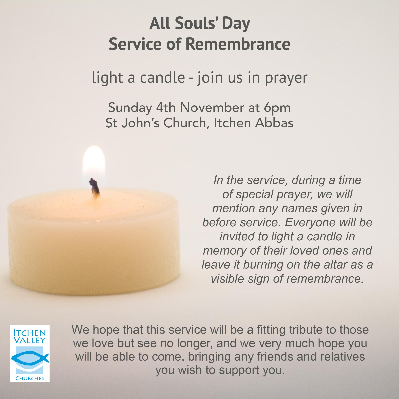 All Souls Service on Sunday 4th November 6pm at St John's Itchen